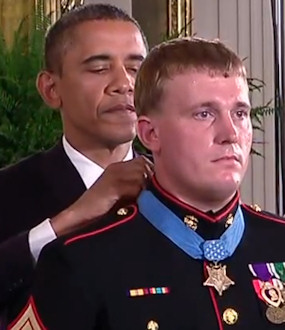 President Barack Obama awards Retired U.S. Marine Corps Sergeant Dakota L. Meyer the Medal of Honor . . . for conspicuous gallantry and intrepidity at the risk of his life above and beyond the call of duty, while serving with Marine Embedded Training Team 2-8, Regional Corps Advisory Command 3-7, in Kunar Province, Afghanistan, on September 8, 2009.