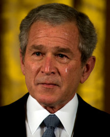 President George W. Bush weeps Tuesday, April 8, 2008 during a ceremony in the East Room of the White House before presenting the Medal of Honor to George and Sally Monsoor for the actions of their son during combat in Iraq.