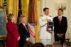 "President Barack Obama posthumously awards the Medal of Honor for Army Sgt. 1st. Class Jared C. Monti of Raynham, Mass., to his parents Paul and Janet Monti, Sept. 17, 2009, in the East Room of the White House in Washington D.C. ""Jared Monti saw danger before him and he went out to meet it,"" President Obama said in the ceremony."