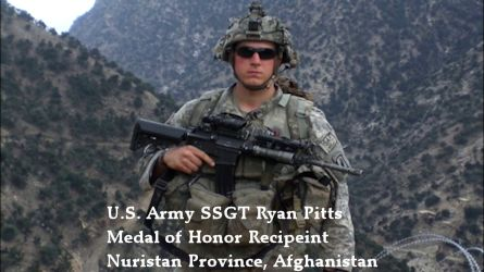 Medal of Honor recipient U.S. Army Staff Sgt. Ryan M. Pitts in Nuristan Province, Afghanistan