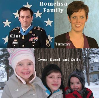 Medal of Honor Recipient Clint Romesha; his wife, Tammy; and, children, Gwen, Dessi and Colin in January 2013. (Photos courtesy of Clinton L. Romesha and combined by USA Patriotism!)