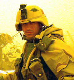 Sergeant First Class Paul Ray Smith, posthumous Medal of Honor recipient  is shown in the field during the war in Iraq.