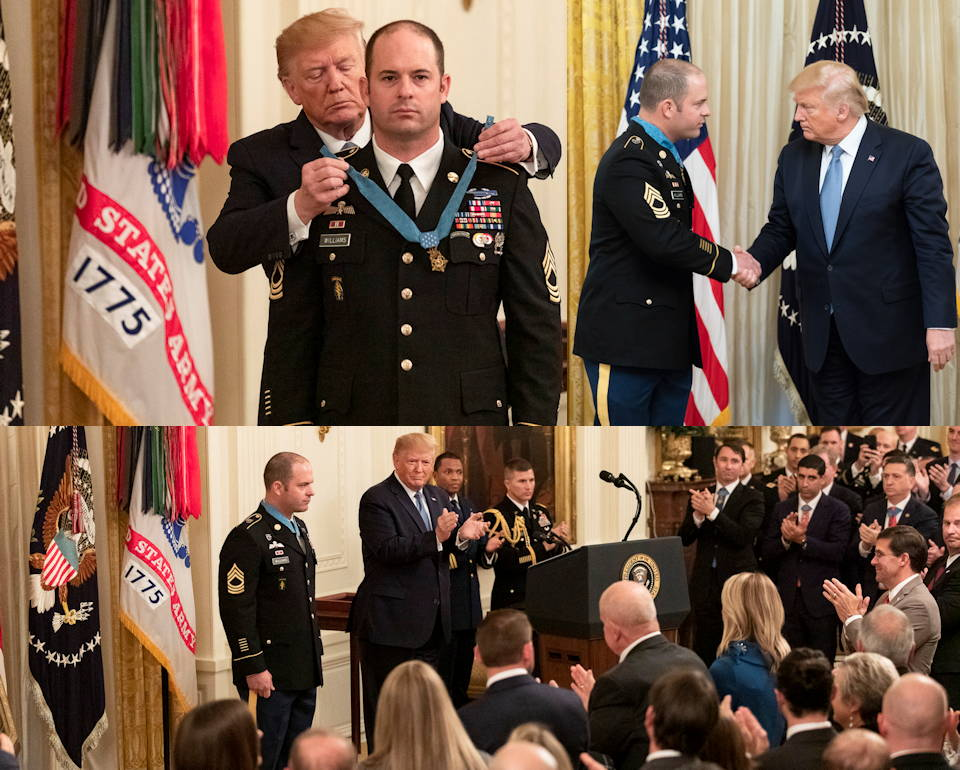 October 30, 2019 - Scenes of U.S. Army Master Sgt. Matthew O. Williams' presentation of the Medal of Honor by President Donald J. Trump ... as his family, fellow Green Beret soldiers, other Medal of Honor recipients, Army leaders, and other government officials proudly witness him being recognized as one of the United State's greatest hero in the East Room of the White House. Williams received the honor for his actions during April 2008 Battle of Shok Valley in the Nuristan Province of Afghanistan. (Image created by USA Patriotism! from Official White House Photos by Amy Rossetti and Shealah Craighead)
