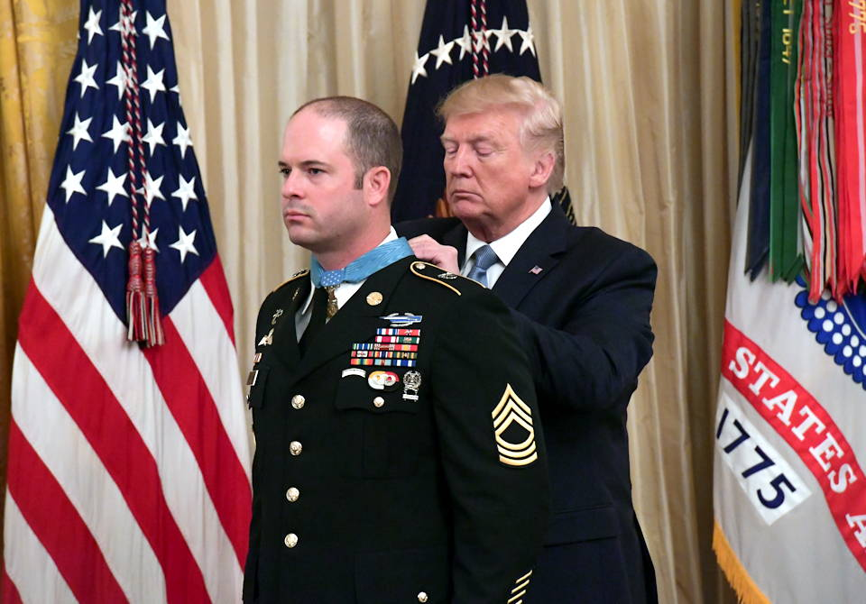 October 30, 2019 - President Donald J. Trump presents the Medal of Honor to U.S. Army Master Sgt. Matthew O. Williams during a ceremony at the White House in Washington, D.C. Williams was awarded the Medal of Honor for his actions while serving as a weapons sergeant with the Special Forces Operational Detachment Alpha 3336, Special Operations Task Force-33, in support of Operation Enduring Freedom in Afghanistan on April 6, 2008. (U.S. Army photo by Sgt. Keisha Brown)