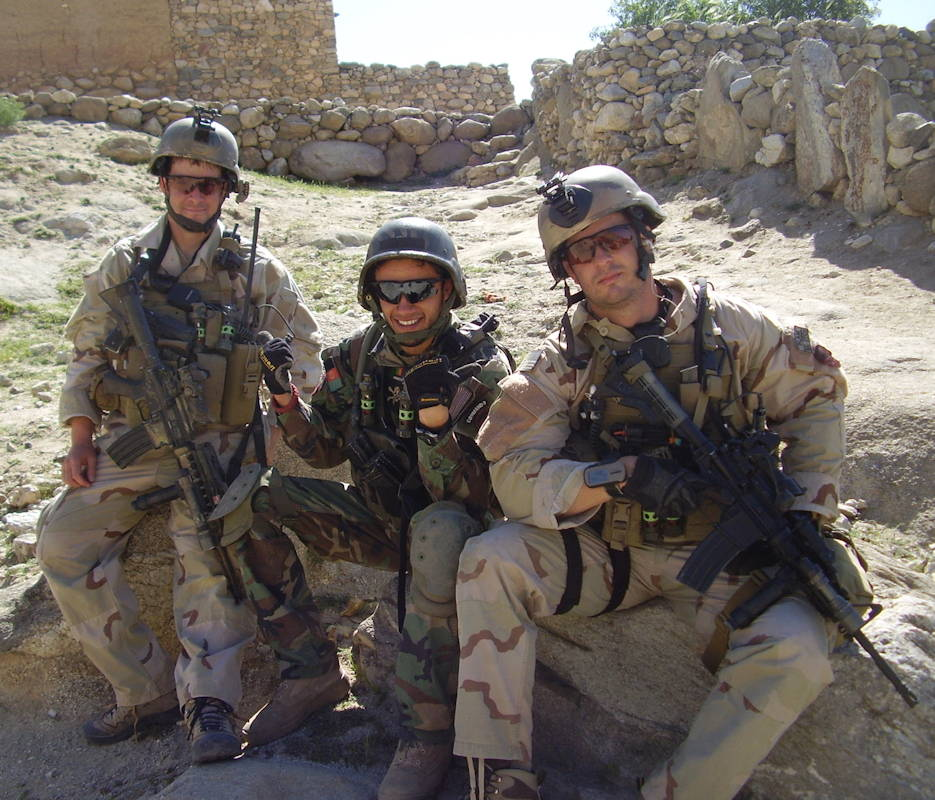 Then-Sgt. Matthew Williams with Staff Sgt. Ronald Shurer II assigned to 3rd Special Forces Group (Airborne), sit outside a small village in Eastern Afghanistan in May 2008. (Photo courtesy of Master Sgt. Matthew Williams)
