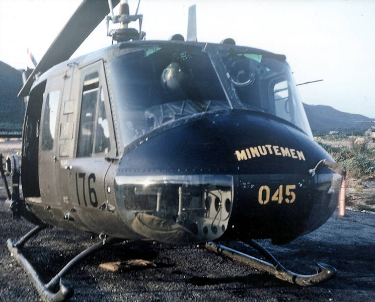 A 176th Aviation Company UH-1D model Huey helicopter pictured in Vietnam, 1967. This was the helicopter normally flown by Maj. Charles Kettles, but it was undergoing maintenance, May 15, 1967, the day Kettles and his fellow pilots were called on to perform a dangerous rescue mission. (Photo courtesy of retired Lt. Col. Charles Kettles)