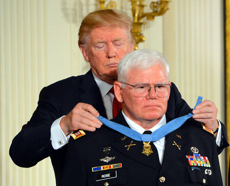 October 23, 2017 - President Donald J. Trump presents the Medal of Honor to Retired U.S. Army Captain Gary M. Rose in a ceremony at the the White House in Washington, D.C. Rose was awarded the Medal of Honor for actions during Operation Tailwind in Southeastern Laos during the Vietnam War, September 11-14, 1970. Then-Sgt. Rose was assigned to the 5th Special Forces Group (Airborne) at the time of the action. (DoD photo by C. Todd Lopez)