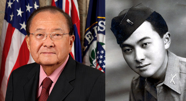 U.S, Senator Daniel Inouye's official Senate photo portrait in 2008 on left and  U.S. Army 2nd Lt. Daniel Inouye during World War II on right. (Image created by USA Patriotism! from public domain photos courtesy of the U.S, Senate and Arm)