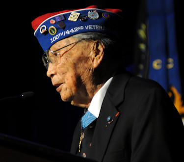 George Joe Sakato, Medal of Honor recipient, speaks Nov. 1, 2011, at a ceremony in Washington, D.C. At the ceremony, 40 World War II Soldiers from the all-Japanese-American units -- the 442nd Regimental Combat Team, the 100th Infantry Battalion and the Military Intelligence Service -- were awarded the Bronze Star. Photo by C. Todd Lopez