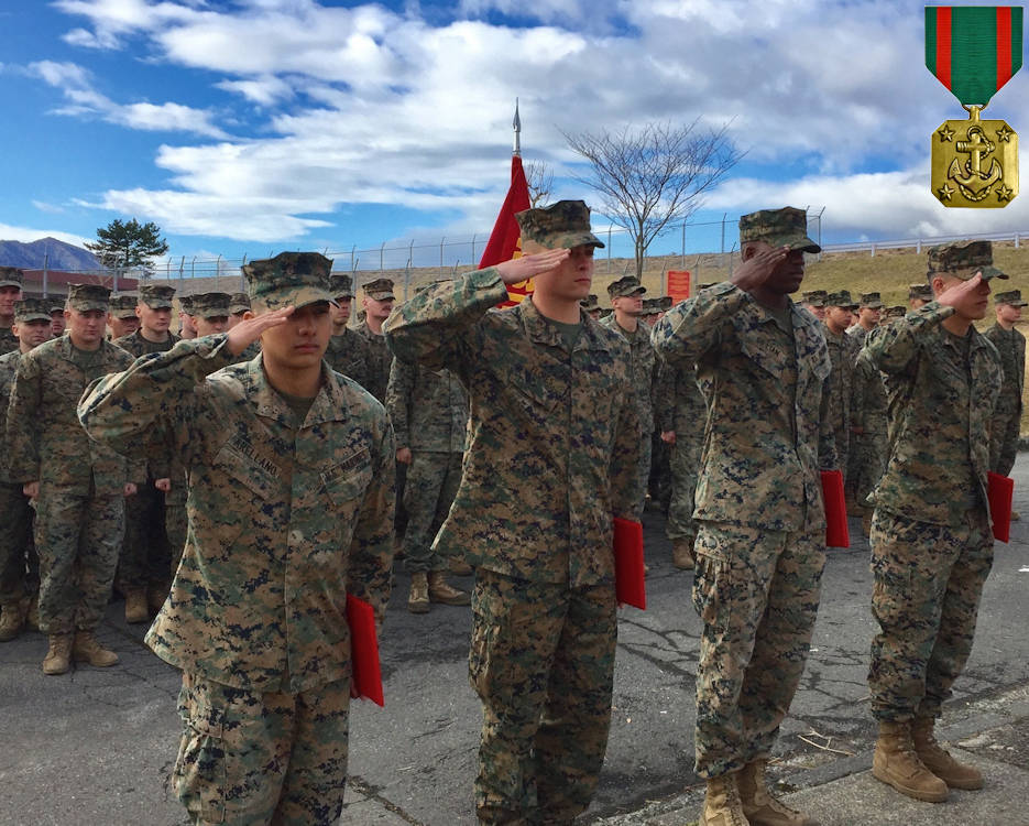 January 9, 2017 - Four U.S. Marines (left to right: Lance Cpl. Manaure Arellano, Lance Cpl. James Flores, Lance Cpl. Raheem Gilliam and Pfc. Jacob Boerner) receive the Navy and Marine Corps Achievement Medal during a battalion formation aboard Combined Arms Training Center Camp Fuji, Japan, for their instinctive response when a vehicle with five passengers fell from the fifth story of a parking garage in Yokosuka, a city in the Greater Tokyo Area, December 31, 2016. Once the Marines arrived on scene, the group flipped the car in order to remove the passengers prior to Japanese Emergency Medical Services arriving. The Marines are riflemen assigned to 3rd Battalion, 1st Marine Regiment and forward-deployed to 3rd Marine Division, III Marine Expeditionary Force, based in Okinawa, Japan. (Image created by USA Patriotism! from U.S. Marines photo by Sgt. Mandaline Hatch)