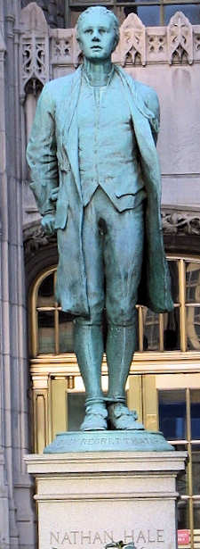 Statue of Nathan Hale, one of America's first heroes, stands proudly in front of Tribune Tower in Chicago, IL.