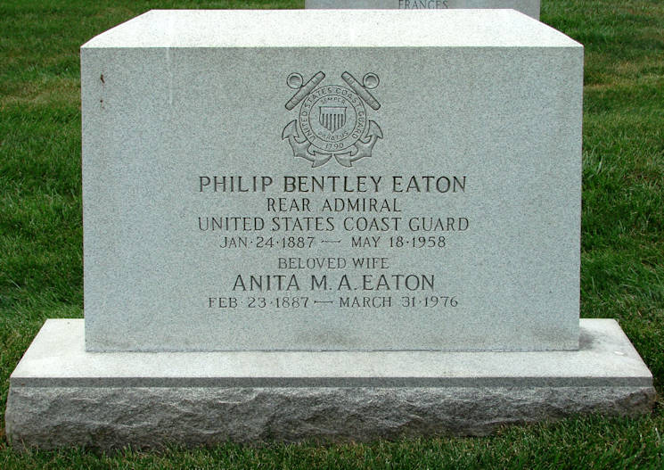 Rear Adm. Philip Bentley Eaton and wife's headstone located at Arlington National Cemetery in Arlington, VA. (Courtesy of David McInturff)