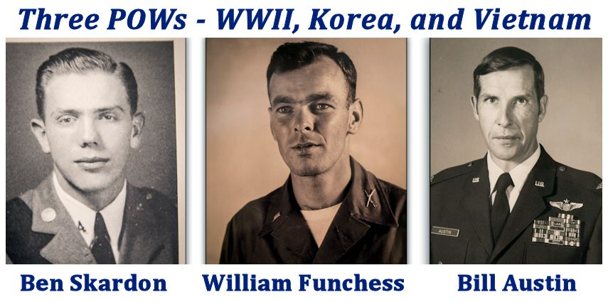 Archival photos of (from left) Ben Skardon, William Funchess, and Bill Austin. (Image created by USA Patriotism! from photo collage by Ken Scar, U.S. Army Cadet Command)