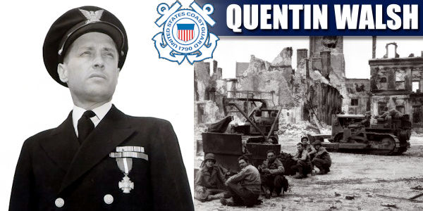 U.S. Coast Guard Cmdr. Quentin R. Walsh (left) in his dress blues bearing his recently awarded Navy Cross Medal and his men (right) at work preparing captured Cherbourg in Germany for operations during World War II. These men are likely U.S. Navy Sea Bee personnel, who specialized in heavy machinery operation and construction work. (Image created by USA Patriotism! from U.S. Coast Guard photos)