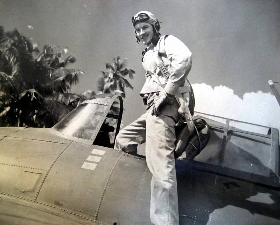 World War II veteran Sam Folsom flew the Grumman F4F Wildcat during his time of service in Guadalcanal in late 1942. His squadron, Marine Fighter Squadron 121, was the highest scoring Marine fighter squadron of WWII and received the presidential unit citation. During Folsom's time with VMF-121, he shot down three total enemy aircrafts and received the Purple Heart and the Distinguished Flying Cross. (Courtesy photo provided by Sam Folsom)
