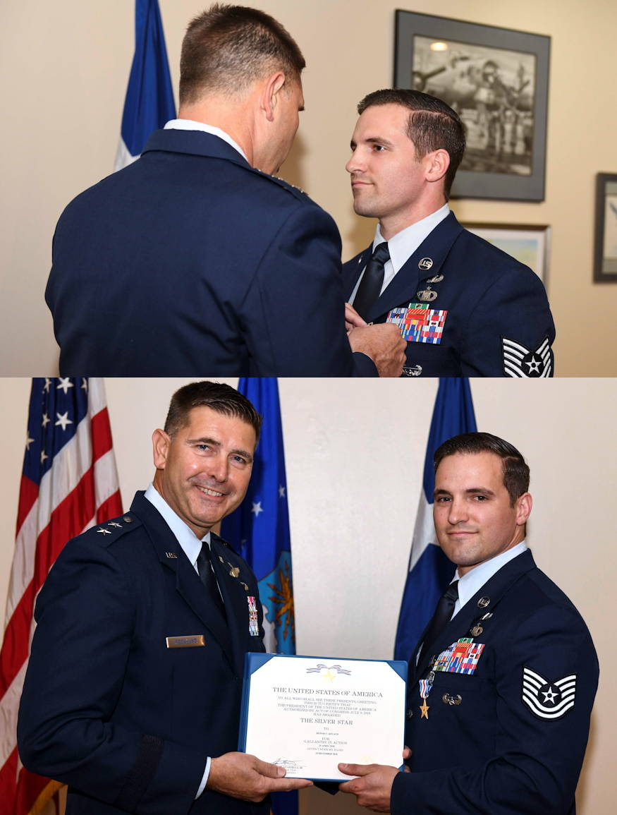 U.S. Air Force Tech. Sgt. Cam Kelsch, a Special Tactics Tactical Air Control Party operator with the 17th Special Tactics Squadron, is presented a Silver Star Medal by U.S. Air Force Maj. Gen. Vincent Becklund, deputy commander of Air Force Special Operations Command, during a ceremony at the Mighty Eighth Air Force Museum, Pooler, Georgia, April 9, 2019. Kelsch is credited with repeatedly exposing himself to enemy fire to save the life of a wounded teammate and controlling precision strike munitions from aircraft to secure the safety of his joint and partner force members while deployed with the U.S. Army Special Operations Command's 75th Ranger Regiment battalion to Afghanistan in 2018. (U.S. Air Force photo by Senior Airman Rachel Yates)