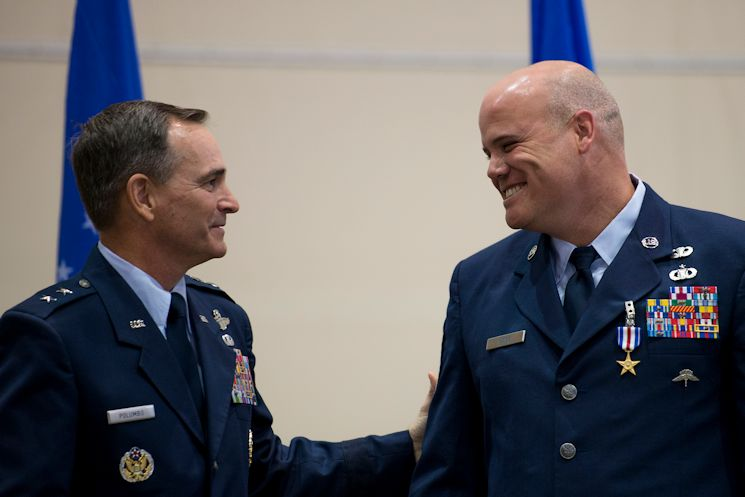 Maj. Gen. Harry Polumbo, the 9th Air Force Commander, presented Master Sgt. Thomas Case, a tactical air control party airman, 18th Air Support Operations Group, with his second Silver Star medal, Nov. 13, 2014 at Pope Army Airfield, N.C. Case received the medal for gallantry in action during a 2009 deployment to Afghanistan. The Silver Star Medal is the U.S. military's third highest military decoration for valor. It is presented for gallantry in action against an enemy of the U.S. (U.S. Air Force photo/Airman 1st Class Ryan Callaghan)