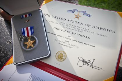 Lance Cpl. Jeffrey Cole's Sliver Star and certificate (Photo by USMC Photo by Cpl. Jeff Drew)