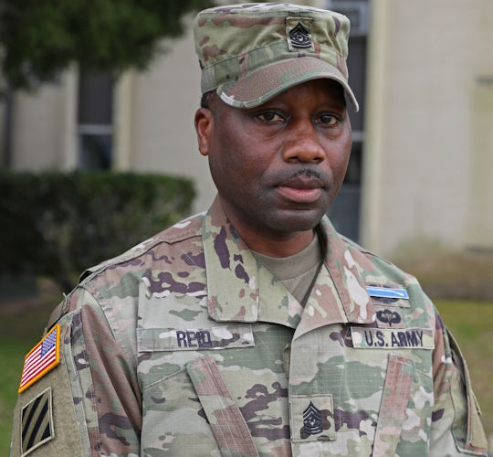 U.S.  Army Command Sgt. Maj. Curtis Reid, the senior enlisted advisor for 1st Battalion, 28th Infantry Regiment, 3rd Infantry Division at Fort Benning, Georgia on March 3, 2021. Reid, a Silver Star recipient, earned the award for rescuing numerous Soldiers from a burning Bradley Fighting Vehicle in Iraq in 2006. (U.S. Army photo by Sgt. Zoe Garbarino)
