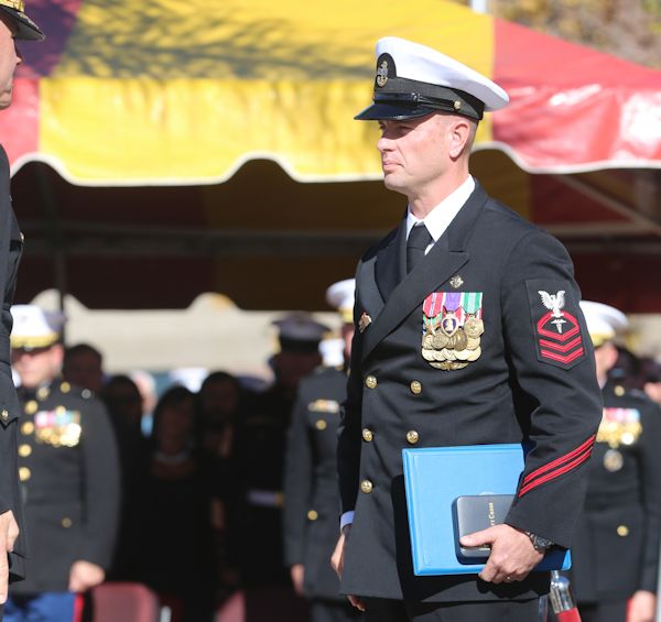 Chief Petty Officer Justin A. Wilson, a special amphibious reconnaissance corpsman with 1st Marine Special Operations Battalion, was awarded the Navy Cross for his heroic actions while supporting Operation Enduring Freedom during a ceremony aboard Marine Corps Base Camp Pendleton, Calif., Nov. 25, 2014. The Navy Cross is the second highest valor award, second to the Medal of Honor, and must be approved by the Secretary of the Navy before being awarded. (U.S. Marine Corps photo by Cpl. Joshua Murray)