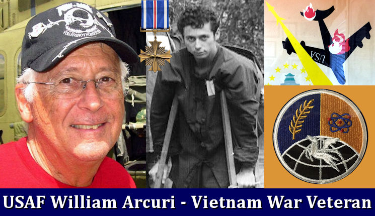 This collage of Vietnam War veteran and POW U.S. Air Force Captain (Ret.) William Y. Arcuri, a Distinguished Flying Cross (top middle) recipient includes ... left - Arcuri in 2016; middle - Arcuri inside the Hoa Lo Prison (Hanoi Hilton) just prior to he and his prisoners release on February 12, 1973; top right - part of a Vietnamese propaganda / celebration poster of B-52 being shot down; and, bottom right - Arcuri's bombing wing squadron patch. (Image created June 2016 by USA Patriotism! from photos provided by William Y. Arcuri through the U.S. Air Force)