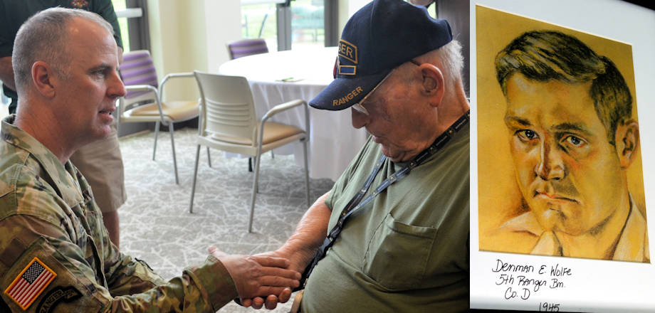 Left - U.S. Army Command Sgt. Maj. Rick Megaloff, State Command Sergeant Major, Arkansas National Guard, presents his coin of excellence to retired Master Sgt. Denman Wolfe during the 'Ranger Breakfast', at the Arkansas Veterans Home in North Little Rock, Arkansas on July 18, 2018. Right - Sketched portrait of retired Master Sgt. Denman Wolfe by a German POW at a barber shop before his return to the USA, circa 1945. (Image created by USA Patriotism! from U.S. Army National Guard photos by Spc. Victoria Eckert)