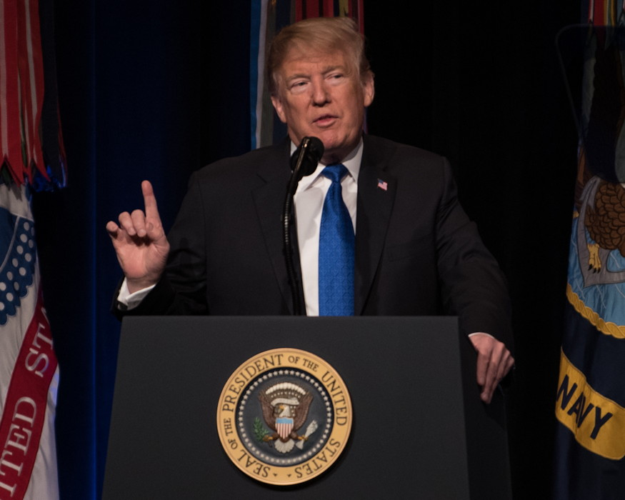President Donald J. Trump talks about the vital importance of missile defense in a time of rapidly evolving threats from around the world at the 2019 Missile Defense Review during a briefing at the Pentagon on January 17, 2019. (U.S. Department of Defense photo by U.S. Army Sgt. Amber I. Smith)