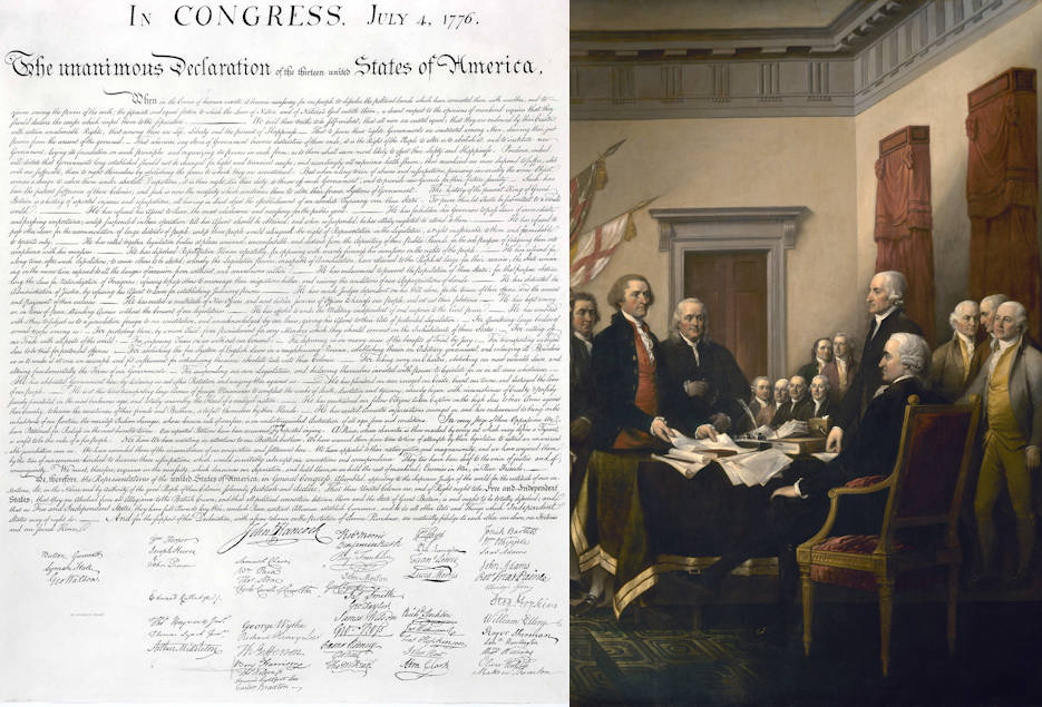 The Declaration of Independence and Founding Father's signing it on July 4, 1776. (Image created by USA Patriotism!)