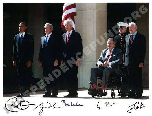 Photo of the five living U.S. Presidents (Barack Obama, George W. Bush,  Bill Clinton, George H.W. Bush, and Jimmy Carter) with their signatures. Photo taken at the dedication of the George W. Bush Presidential Library in April 2013.