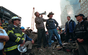 President George W. Bush speaking to rescue workers at the destoyed World Trade Center on September 14, 2001.