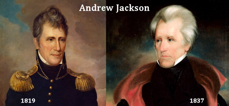 Andrew Jackson (March 15, 1767 – June 8, 1845) ... Left to Right - portrait in military uniform by Charles Willson Peale, 1819 and Official White House Portrait by Ralph E.W. Earl, 1837 (Image of Andrew Jackson created January 1, 2016 by USA Patriotism! from photos of the two portraits)