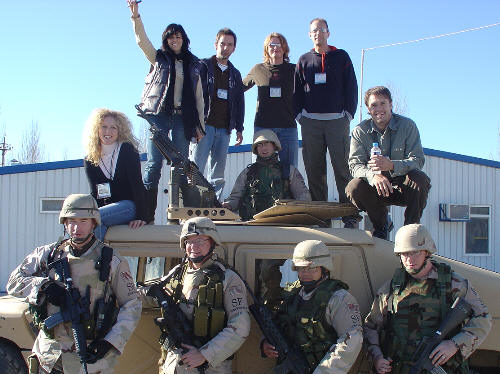 Little Big Town with troops on Humvee while in Afghanistan - 2004
