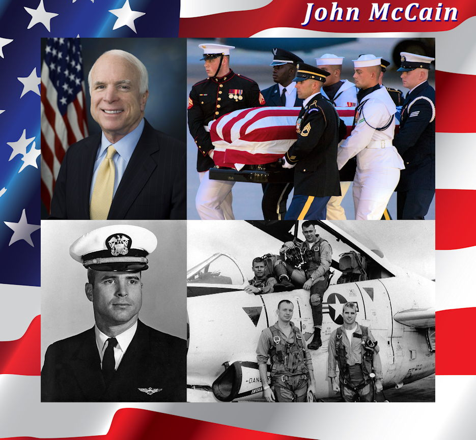 USA Patriotism! proudly salutes U.S. Navy veteran Senator John McCain for his honorable, dedicated duty to our beloved USA during his decorated military service and elected leadership tenure ... never wavering! (Image created by USA Patriotism! from courtesy photos by the U.S. Navy and U.S. Air Force)