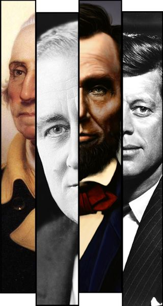 (Left to right) U.S. Presidents George Washington, Franklin Delano Roosevelt, Abraham Lincoln and John F. Kennedy. Image collage by USMC Lance Cpl. Norman Eckles