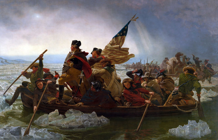General George Washington with his forces as they cross the icy Delaware River on their way to their surprise victory at the Battle of Trenton in 1777