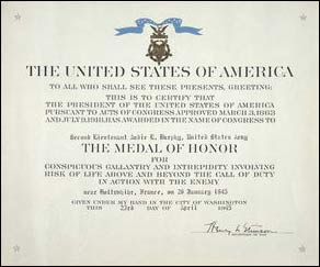 Medal of Honor Citation