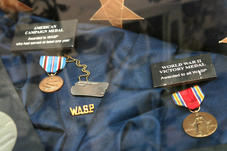 "Campaign medals received by the Women Airforce Service Pilots program are displayed during the opening of the ""Fly Girls of World War II"" exhibit at the Women in Military Service for America Memorial in Arlington, Va., Nov. 14, 2008. (U.S. Army photo by Staff Sgt. Michael J. Carden)"