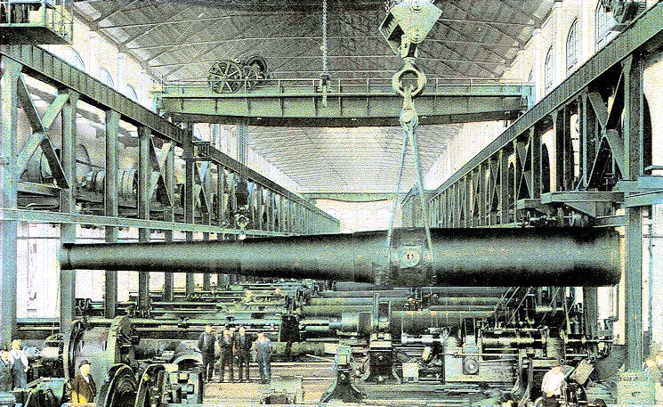 In the late 1880s, the Watervliet Arsenal began a transformation from a maker of saddles to a maker of cannons. This August 1, 1900 post card depicts the first 16-inch gun being manufactured at the Watervliet Arsenal. The gun was finished in 1902. (U.S. Army Watervliet Arsenal historical photo enhanced by USA Patriotism!)