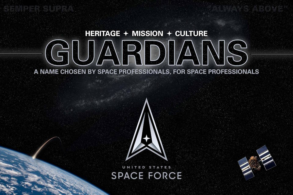 Logo announcing that Space Force personnel will be called Guardians. (U.S. Air Force image by Staff Sgt. James Richardson)