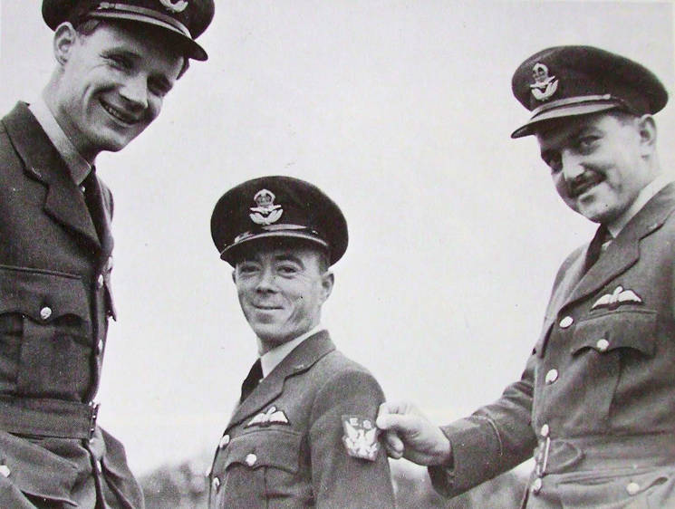 "Eugene ""Red"" Tobin (left), Vernon ""Shorty"" Keough and Andy Mamedoff, volunteers with the Royal Air Force Eagle Squadrons, fought in the Battle of Britain during World War II. Considered the founding fathers of the 4th Fighter Wing, their efforts led to establishment of the 334th, 335th, and 336th Fighter Squadrons which still operate today. (Courtesy Photo)"