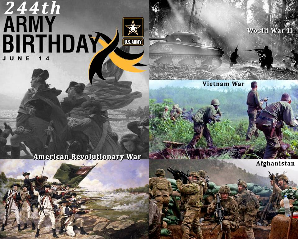 Celebrating the 244th birthday of the U.S. Army with scenes of soldiers in battle during the American Revolutionary War, World War II, Vietnam War, and Afghanistan (the longest combat effort) ... valiantly Answering the Call to Service ... since 1775! (Image created by USA Patriotism! from U.S. Army graphic by Ashley L. Keasler and courtesy photos of combat scenes from the respective wars.)