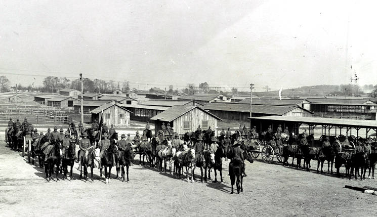 U.S. Army mounted cavalry and equipment form up at Camp Meade, Md., circa 1918. (Library of Congress courtesy photo)