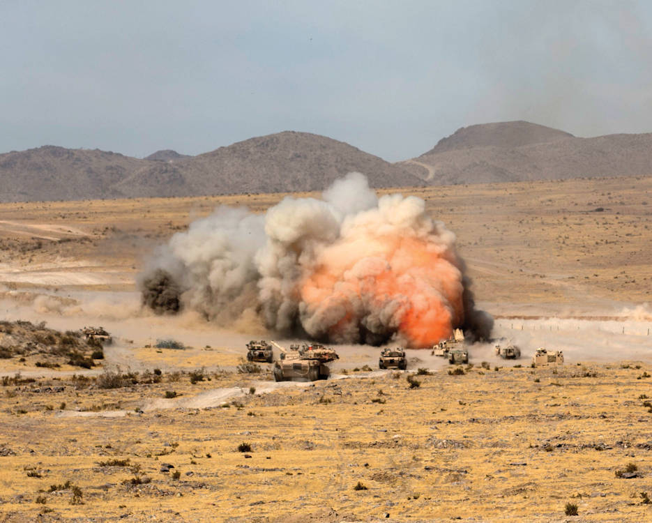 Soldiers from the 3rd Armored Brigade Combat Team (3rd BCT), 1st Cavalry Division (1 CD) detonate a mine-clearing line charge during live-fire training at the National Training Center at Fort Irwin, California, in October 2016. GLMR's concept involves a self-repairing, meshed network that will continue to function in the event of a breach or sensor malfunction, and has the potential for broader application in military and nonmilitary environments. (U.S. Army photo by Staff Sgt. Leah Kilpatrick, 3rd BCT, 1 CD)