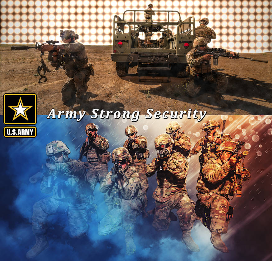 The Army Strong Security graphic depicts Soldiers of 1st Battalion, 160th Infantry Regiment, 40th Infantry Division providing staged rear security during testing of new High Mobility Multipurpose Wheeled Vehicle (HMMWV) modification kits in the field, while participating in 2019's Annual Training on Camp Roberts Training Base, California. (Image created by USA Patriotism! from U.S. Army photo illustrations by Sgt. Jack J. Adamyk, 40th Infantry Division public affairs)