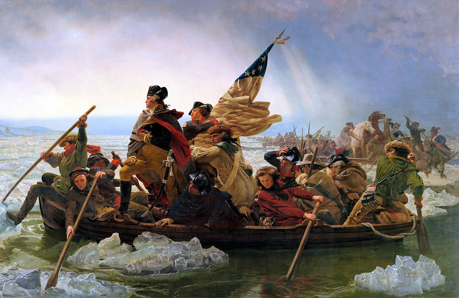Image of the masterpiece artwork by Emanuel Leutze (1851) showing General George Washington and his troops crossing the Delaware River during the American Revolutionary War.
