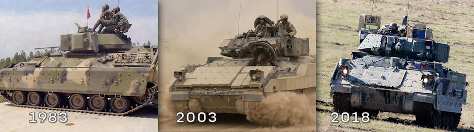 The Bradley Fighting Vehicle has been on front lines since 1983, right; played an integral role in the 2003 invasion of Iraq, center; and has been upgraded repeatedly to stay in the fight, supporting training exercises in 2018, for example. (Photos by U.S. Army Spc. 5 Bobby Mathis. U.S. Air Force Shane A. Cuomo, and U.S. Army Spc. Hubert D. Delany III)