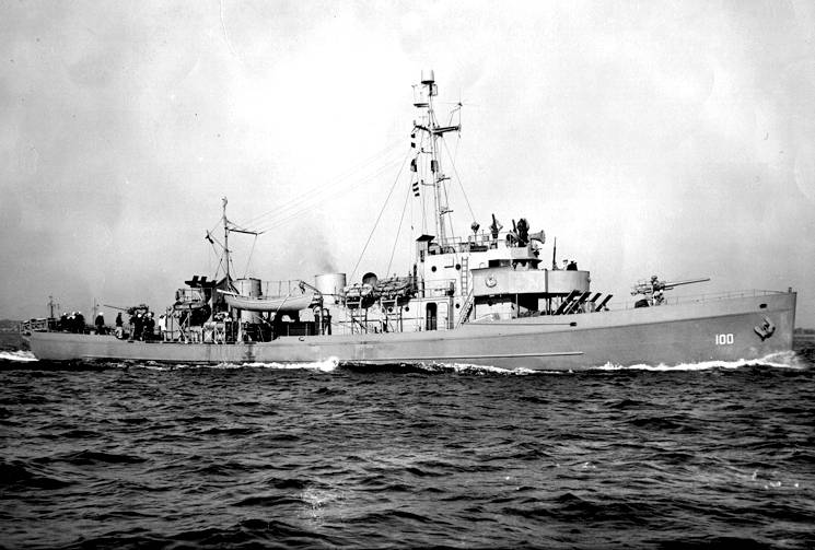 U.S. Coast Guard Cutter Argo returning to port after escort duty. Originally designed for prohibition law enforcement, this type of cutter was particularly seaworthy and maneuverable. With the U.S. entry into World War II, the ship was attached to the Atlantic Fleet as a convoy escort. (Photo courtesy of the Winslow family)
