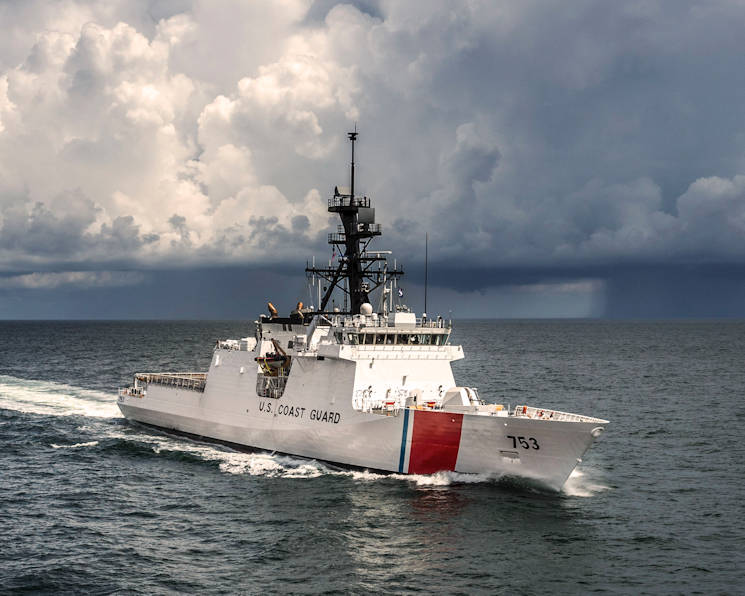 The Coast Guard's newest National Security Cutter, the 418-foot Cutter Hamilton. As the 4th cutter out of planned eight Legend-class cutters, the Hamilton is scheduled to be commissioned and homeported in Charleston, South Carolina, Dec. 6, 2014. U.S. Coast Guard photo by Coast Guard Aviation Training Center Mobile.)