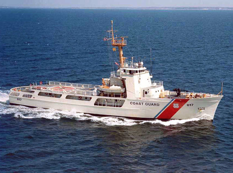 The medium endurance U.S. Coast Guard Vigilant (WMEC-617) on patrol at an undisclosed location and date. It is home-ported in Cape Canaveral, Florida. (U.S. Coast Guard photo)