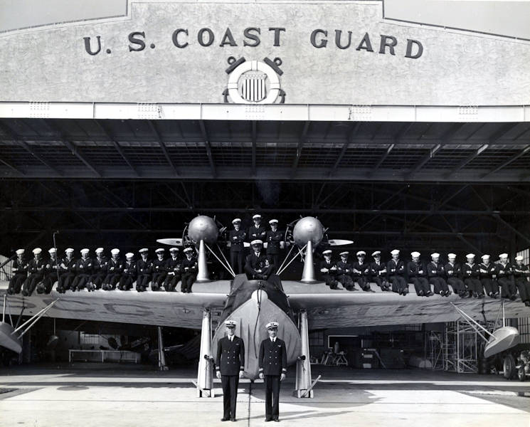 January 31. 1935 - Commemorative photograph of the officers and enlisted men at Air Station Miami posing on Flying Boat Arcturus. (Photo from U.S. Coast Guard Collection)